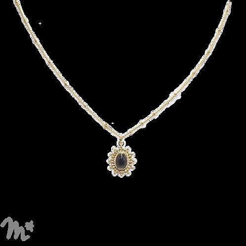 Collier Paloma doré à l'or fin 24 carats onyx noir Mila Création
