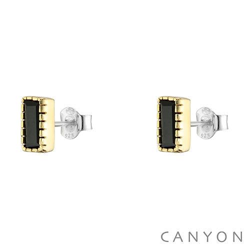 Boucles d'oreille argent onyx noir Canyon
