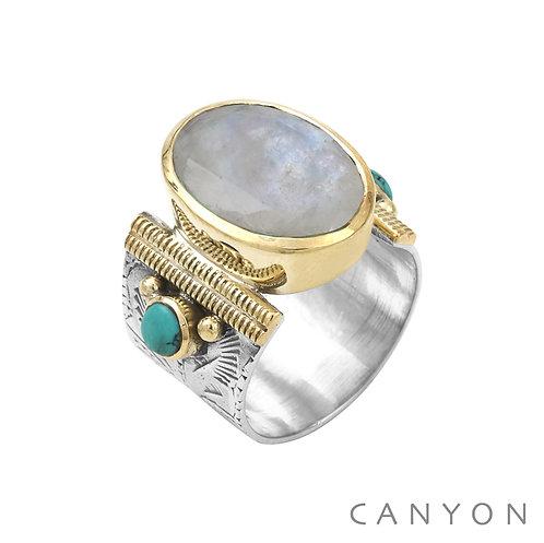 Bague argent pierre de lune Canyon