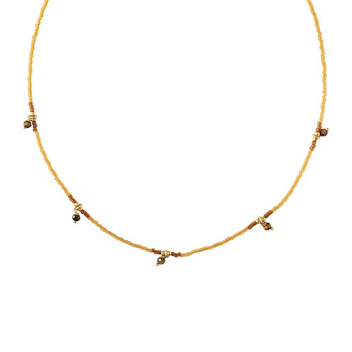 Collier A Beautiful Story Cocoon oeil de tigre gold
