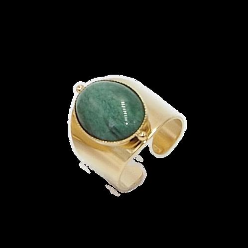Bague Katy dorée à l'or fin 24 carats Jaspe vert Mila Créatio