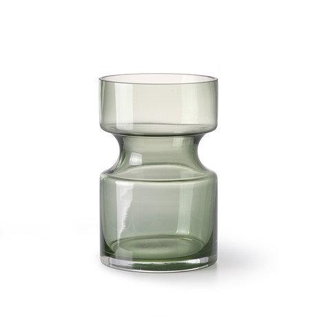 Vase en verre vert transparent 11 x H 17 cm