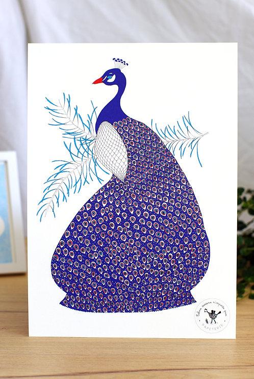 Affiche A4 (21x29,7) Paon Céline dessine n'importe quoi