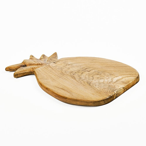 Planche à découper forme ananas en teack naturel 35X23X1,5 cm