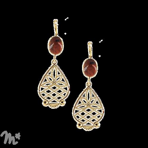 Boucles d'oreilles dorées à l'or fin 24 carats Jaspe popy rouge