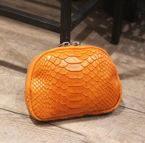 Porte-monnaieen cuir façon croco orange