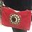 Thumbnail: Sac en daim rouge motif clous et corne