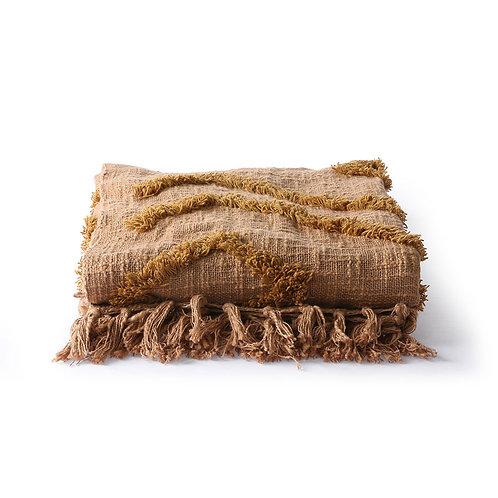 Plaid en coton à franges couleur brique 130x170 cm