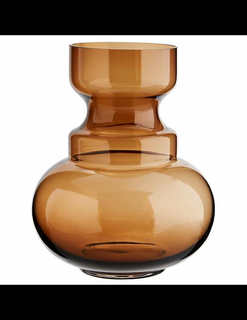Vase rond en verre transparent couleur ambre 17,5 x H 23 cm