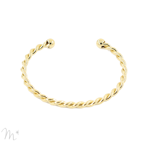 Bracelet torsadé doré à l'or fin 24 carats Mila création