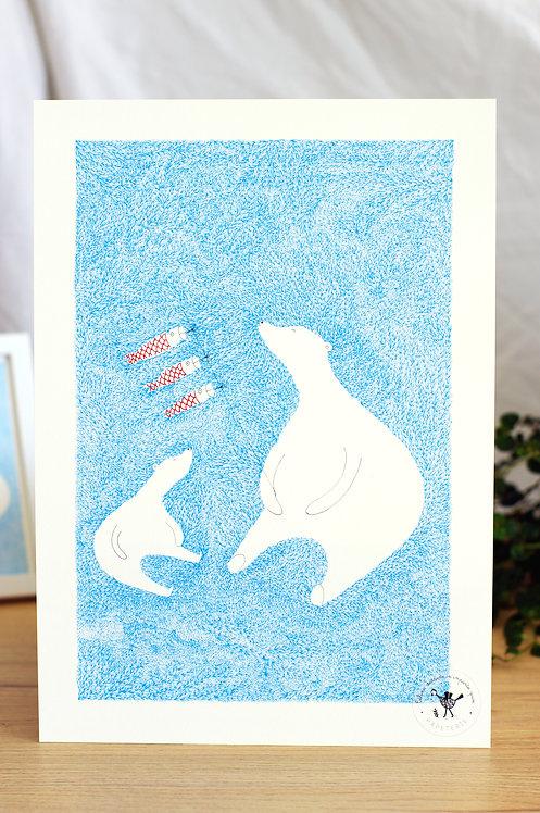 Affiche A4 (21x29,7) Ours blanc Céline dessine n'importe quoi