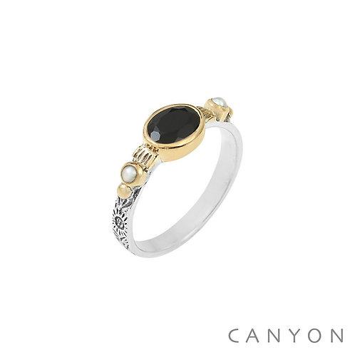 Bague argent pierre onyx noir Canyon