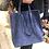 Thumbnail: Sac en daim forme cabas bleu Hauteur 37 cm