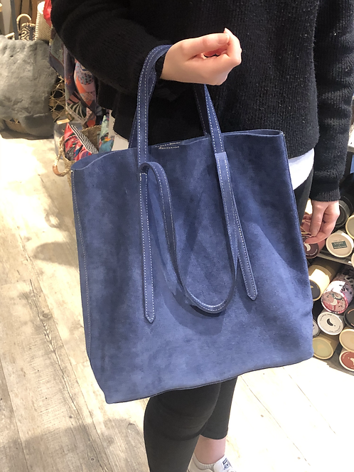 Sac en daim forme cabas bleu Hauteur 37 cm