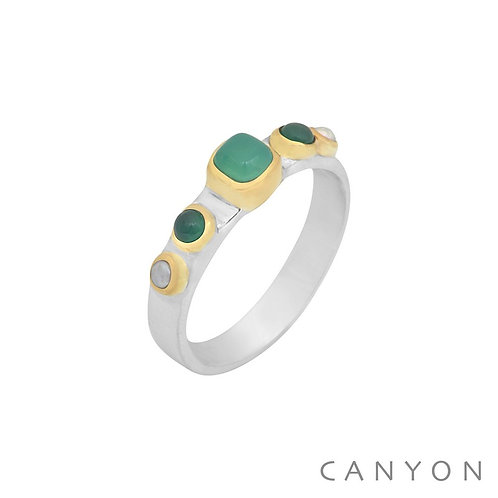 Bague argent pierre onyx vert Canyon Taille 54