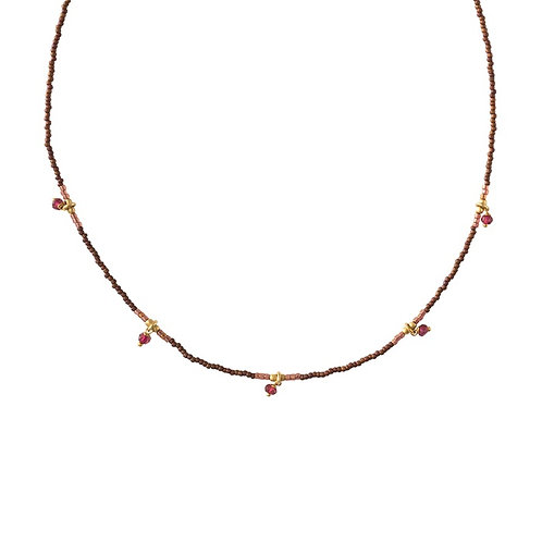 Collier A Beautiful Story Cocoon grenat gold