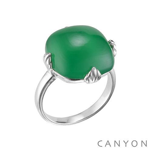 Bague en argent avec un Onyx vert Canyon