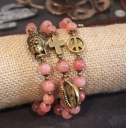 Bracelet 3 tours rose