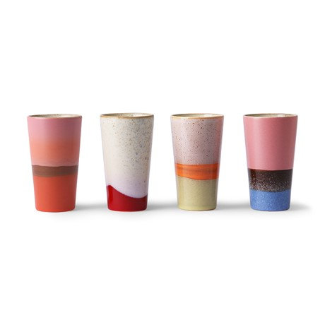 Tasses Latte en céramique 70's (lot de 4)