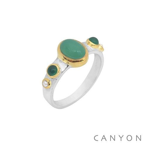 Bague perles chrysoprase et onyx vert Canyon