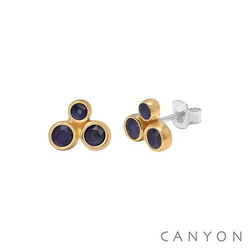 Boucles d'oreille argent calcédoines bleu foncé Canyon