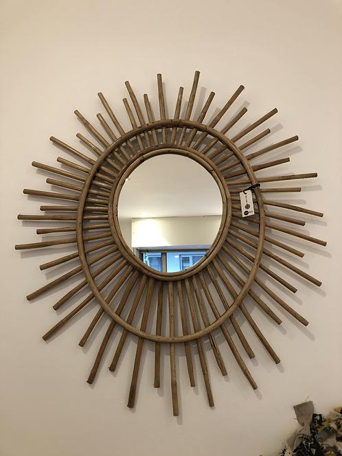 Miroir en bambou oval