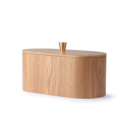 Boite de rangement en bois avec couvercle poignée en laiton