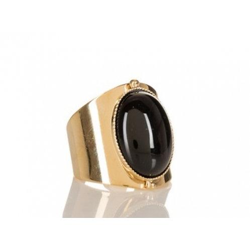 Bague Katy dorée à l'or fin 24 carats onyx noir Mila Création