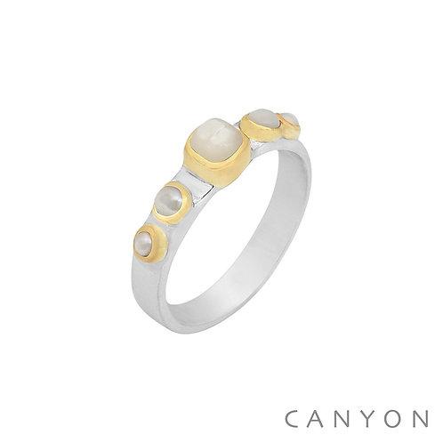Bague argent perles nacrés Canyon Taille 54
