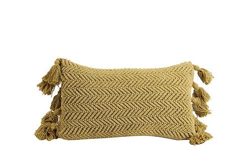 Coussin rectangle ocre avec pompons 60cmx30cm