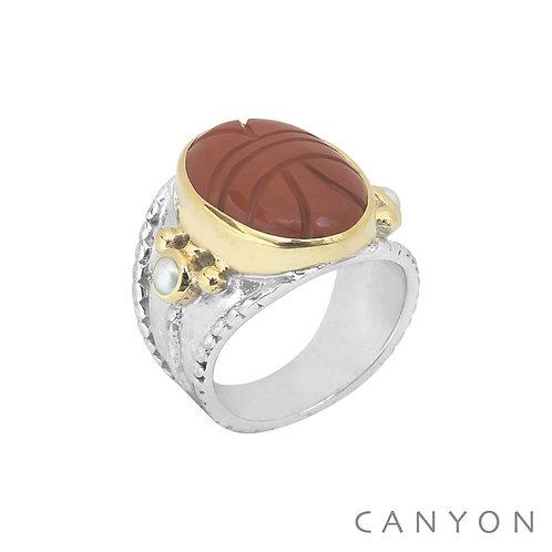 Bague argent scarabée jaspe rouge Canyon