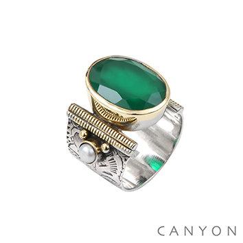 Bague argent quartz vert Canyon