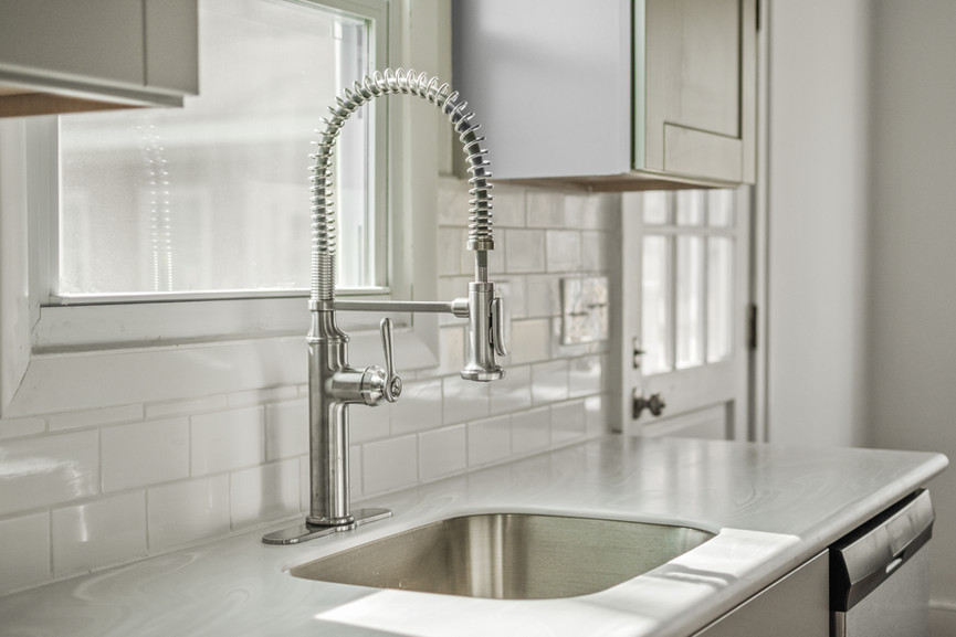Close-up image of a modern sink