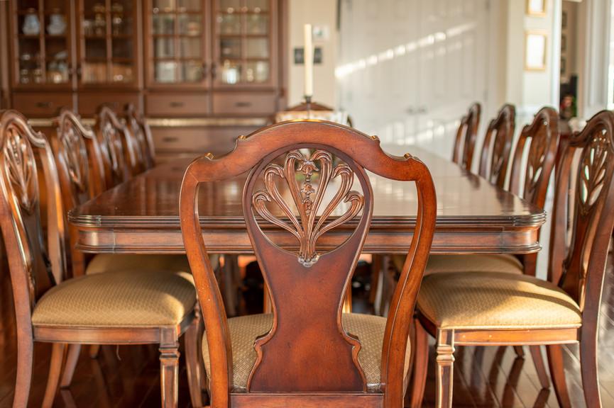 Detail shot of a large elegant dining room table