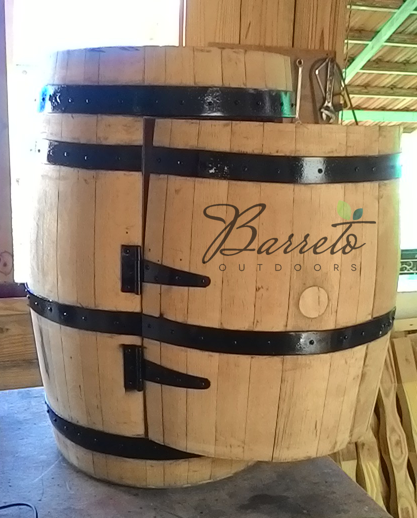 Repurposed Wine Barrel Bar