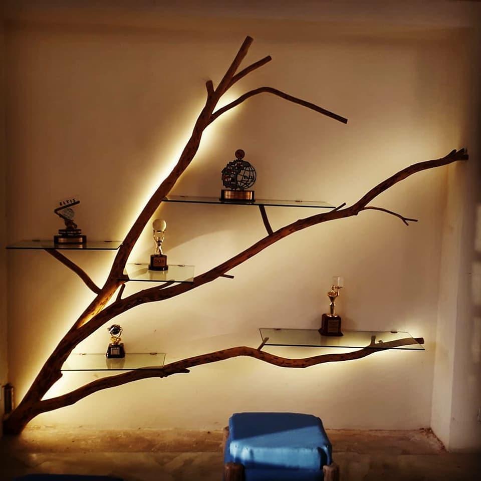 Repurposed Tree Shelf with Lighting