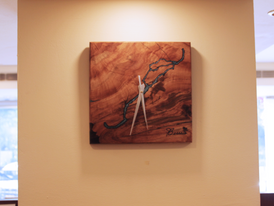 Wood clock with resin