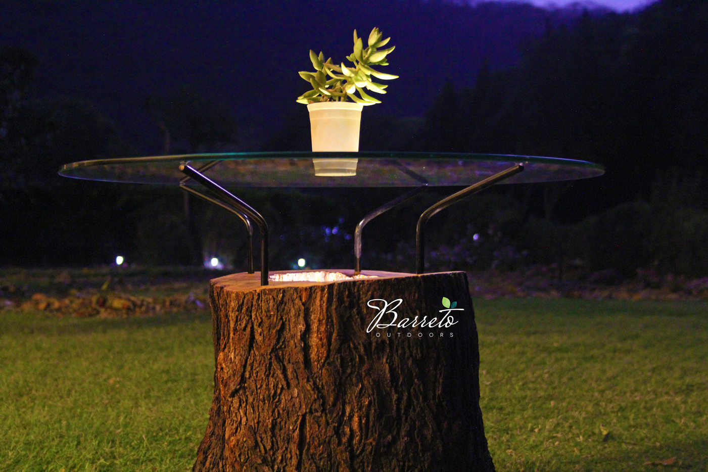 Wood Log Outdoor Table with lighting