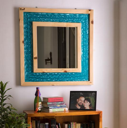 Blue Wave Resin Mirror