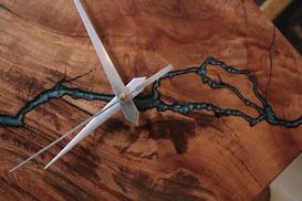 Electric Blue Wood Wall Clock