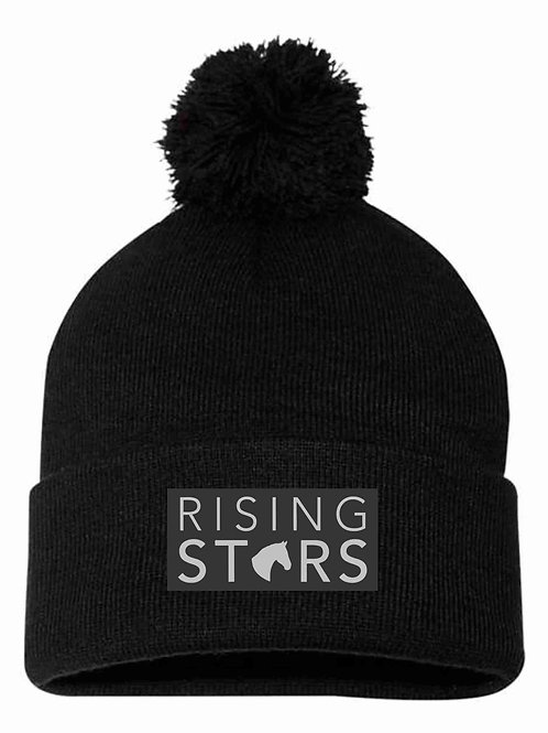 Rising Stars Pom Beanie with Leather Patch