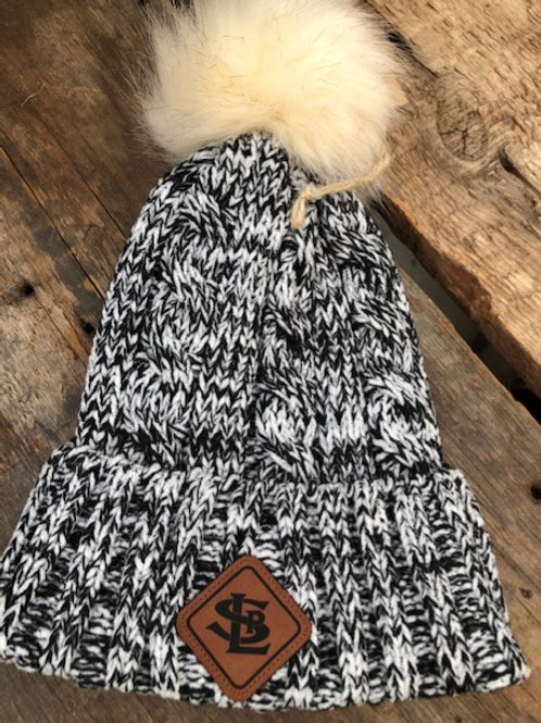 Aspen Pom Beanie with Leather Patch