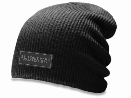 Slouch Beanie with Leather Patch