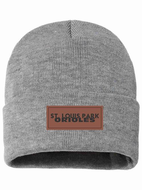Sherpa-Lined Beanie with Leather Patch