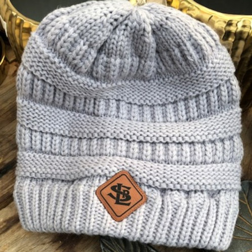 Harper Ladies Knit Beanie with Leather Patch