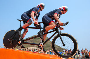 Adam and I on the way to our second gold medal in the Rio 2016 Games, starting the time trial.