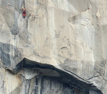 Me climbing above the Devils Brow pitch on Zodiac, El Capitan 2013