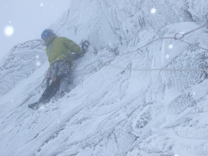 "Me climbing 'No Blue Sky's"" in the Caringorms, Scotland"