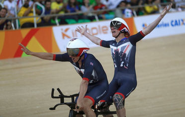 Gold medal celibration in the Pursuit, Rio 2016