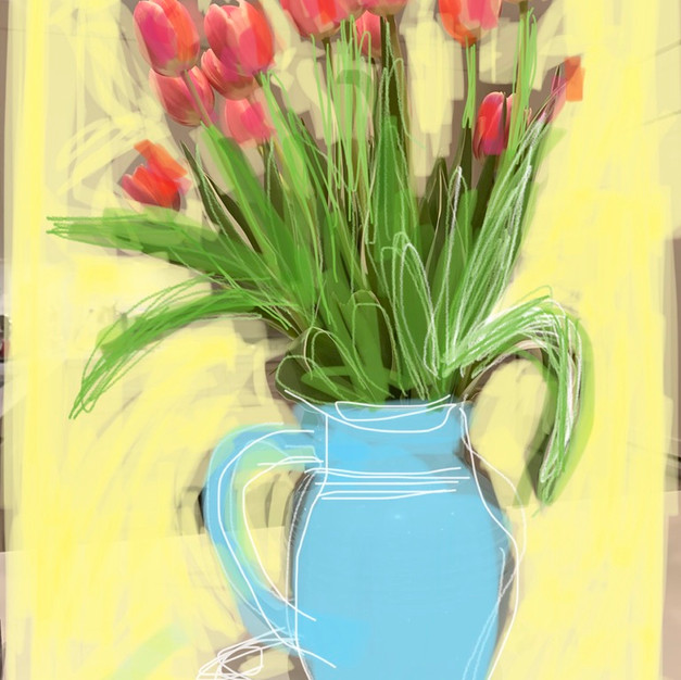 Tulips and Blue Vase